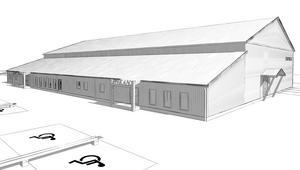 Idrottshallen i Norberg, skisser från arkitektbyrån