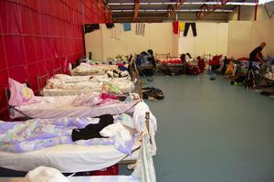 Enkelhetens boning. En del av Ryssa-hallens arena blev till sovsal under innebandyskolan. Foto:Karolina Lundgren