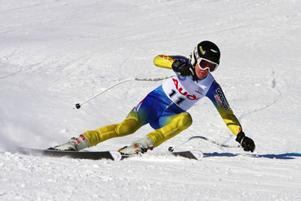 Per Kling, Åre, var snabbast i super-G-åket under gårdagens superkombination i Funäsdalen där han vann totalt.Foto: Kevin Kirk