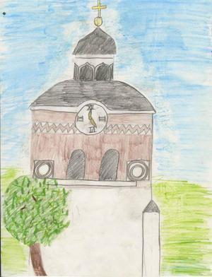 Bollnäs kyrka. Teckning av Ingela Lindwall, 12 år, Kilbergsskolan 5B. 1996.