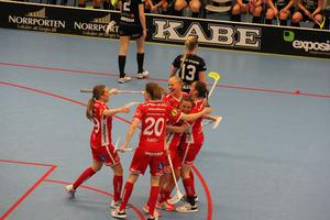 Jönköpingsspelarna jublar efter att ha avgjort matchen under den tredje perioden då laget gick fram från 3–2 till 5–2.