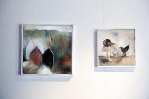 Ljusets boning I respektive Liten tröst III heter två av de nio akrylmålningar Ingmarie Utbys ställer ut i Blå Lågan.