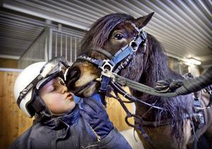 Madelene Eriksson och hennes A-ponny Gervalds Blixten laddar upp inför träningen. Blixten var Sveriges vinstrikaste A-ponny under 2011.
