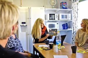 Projektledaren Ann-Christine Langselius håller upp den enda informationsbroschyren man hade tillgänglig.
