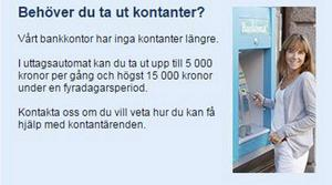Så här ser informationen ut på Skutskärs Handelsbankskontors hemsida.