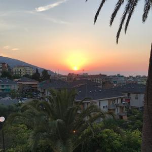 Solnedgång i Alassio, ett av stoppen i Italien.
