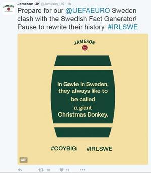 Världskända irländska whiskeymärket Jameson ägnar sig åt att sprida illasinnade rykten om Gävlebor den stora EM-dagen till ära.