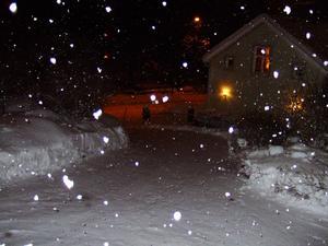 Under lördagskvällens snöfall öppnade jag hallfönstret och stack ut kameran. Jag tog denna bild med blixt för att fånga de stora flingorna som klumpade ihop sig.