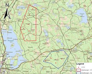 Eon vill anlägga vindkraftsparken på Skallberget och Utterberget öster om sjön Rossen och Horndal