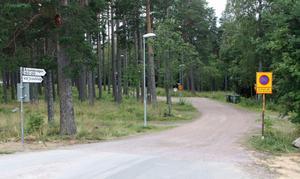 Den här p-förbudsskylten vid grusvägen mot Hedåsbadet har satts upp nyligen.