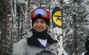 Per Fernvik var nöjd efter segern i Swedish Slopestyles andra deltävling.Foto: Joakim Mattsson