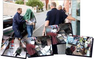 Den misstänkte mannen förs in till tingsrätten samt bilder från butikens övervakningskameror. Fotomontage: Håkan Luthman