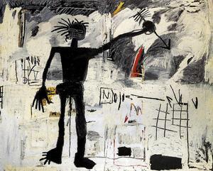 Självporträtt av konstnären Jean-Michel Basquiat.