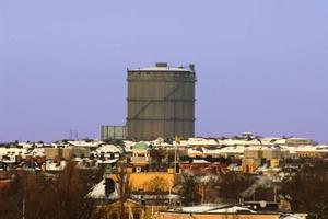 Blir kulturscen. Bobergs gasklocka i Värtahamnen, Stockholm.Foto: Hasse Holmberg/ Scanpix