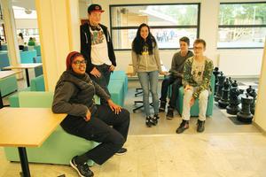 Zahra Abdiwoli Abdisalam, Hugo Renöfält, Carlina Olsson, Simon Leijnegard och Karl Backan testade schackspelet.