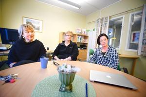 Erika Jansson, SO-lärare, Anne-Lie Wivallius, lärare i svenska och engelska och Chrisoula Lezis Israelsson, SO-lärare och tf rektor under en vecka när ordinarie rektor Marianne Johansson har semester.