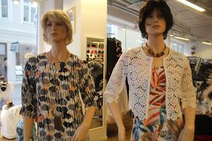 Stormönstrade Elton-klänningar och nätt liten vit jacka på Sigma Fashion(Köpmangatan)