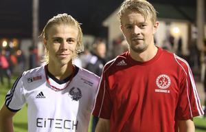 Två derbyprofiler och tidigare lagkamrater; Felix Örnehag, Strands IF och Joel Stillmark, Iggesunds IK.