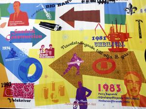 """Innanför entrén ligger """"tidslinjerummet"""" där man på en 190 meter lång och 8 meter hög vepa får en exposé över Sandviks historia. Där finns bland annat bilder på alla vd:ar och styrelseordförande genom åren, som Percy Barnevik och Göran Ahlström."""