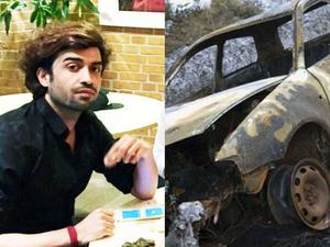 Ramin Sherzaj och det utbrända vraket efter bilen han kidnappades i.