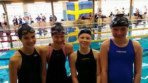Lagkappslaget som vann två guld i överlägsen: Helmi Swanson, Frida Florén, Lisa Löf och Matilda Holmström.