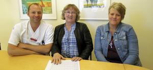 Leder akuten. Marcus Carlsson, medicinsk rådgivare, Monica Brahn, avdelningschef och Helena Strandberg, verksamhetschef.