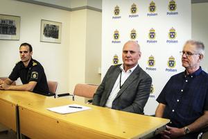 Rickard Eriksson chef för gruppen för grova brott, Thomas Johansson, chef för utredningssektionen vid Gävleborgspolisen och Kenneth Krafth, från bedrägerigruppen.