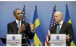 Barack Obama, USA:s president, och Fredrik Reinfeldt, Sveriges statsminister, under sin gemensamma presskonferens i går. Foto: Pablo Martinez Monsivais/AP/Scanpix