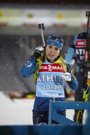 Elisabeth Högberg på lördagens träning inför världscuppremiären i Östersund.