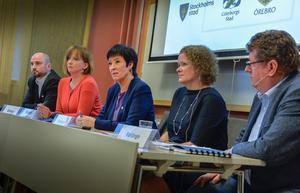 26 november 2015. Mona Sahlin, nationell samordnare, håller presskonferens om satsningen på