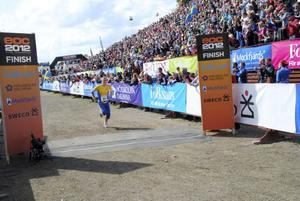 Jerker Lysell tog ut det sista på upploppet vid Lugnets hoppbacke. Det räckte precis till EM-brons.