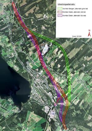 Olika intressen, som miljöpåverkan, ligger i vågskålen när Trafikverket ska bestämma sig för ett av alternativen på illustrationen.