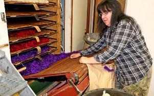 """Gun-Marie Andersson har arbetat på textilverkstaden i tre år. """"Jag kan lite om allt"""", säger hon. Foto: Johnny Fredborg"""