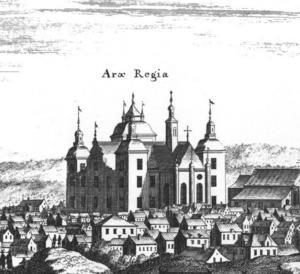 Gävle slott som det såg ut på 1500-talet. Det brann ner i början på 1700-talet men ersattes med ett nytt slott på samma plats, vilket är det slott som står där än idag.