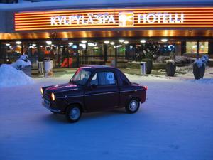 Äntligen framme vid hotellet i Jyväskylä Finland och det årliga vinterrallyt.Buskallt med -30 grader.