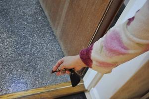 Genom att lysa med ficklampa har hon flera gånger upptäckt kackerlackor vid dörrtröskeln.