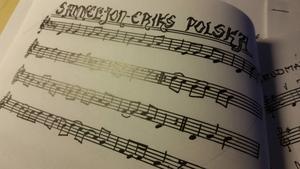 Noter på dagens nya låt: Sammels Jon-Eriks polska, som Bodil lärt sig av O'tôrgs-Kaisa Abrahamsson i Bergsjö. Foto: Bodil Nylander.