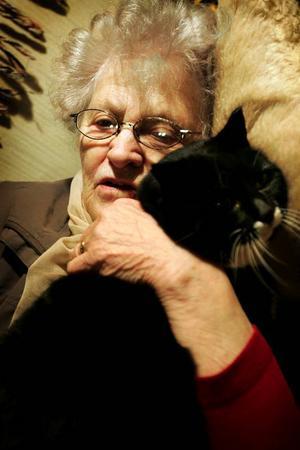 Katten Hilda är 14 år och hon sover alltid vid fotändan i Astrids säng.