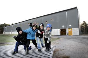 Yess! Theo Wahlberg, Elliot Arola, Oscar Ternstedt och Melvin Lindqvist från Strömsbro Hockeys pojkar födda -03 är glada över att ha fått en ny ishall vid Testebovallen.Foto: Annakarin Björnström