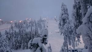 Norra Finland och Ruka har full vinter. Mycket snö och ett par två-tre minusgrader just nu. Dessutom ska det snöa rikligt de närmaste tre dagarna. Här ser vi pisten där VC-premiären i parallellpuckel avgörs på lördag.