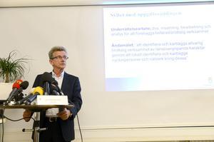 Arkivbild. Lagman Sigurd Heuman, ordförande i Säkerhets- och integritetsskyddsnämnden (SIN), på en presskonferens om Polismyndigheten i Skånes behandling av personuppgifter i dataregistret