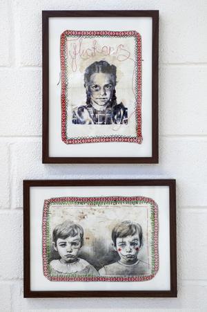 Johanna Ageborn deltar med två verk i blyerts och mixt media.