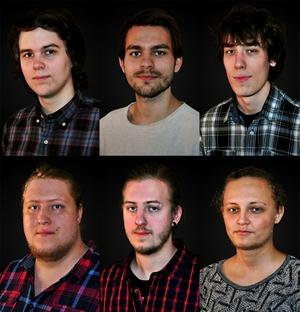 David, Petter, Jonatan, Mikael, Robert och Simon från spelstudion Freshly Sqeezed. Den sjunde medlemmen, Anders, finns inte med på bild.