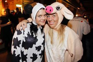 En ko och en gris har tappat bort sin bonde. Kon Sofie Eriksson och grisen Helena Pantzar har tappaat bort sin bonde som är utklädd till bonde.