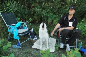 Algot, en vit älghund med husse Håkan Bransell från Holmsveden fick vänta länge för bedömning.