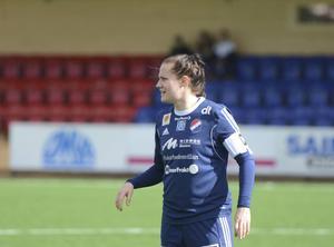 Denise Sundberg var både lagkapten, målskytt och spelfördelare för Kvarnsveden under söndagen.