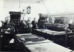 Maskinsätteriet 1931. Från vänster Harald Lindblom, Bengt Wahlberg och Knut Johansson.