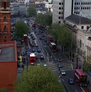 Utsikt från ett hotellrum i Euston i norra London.