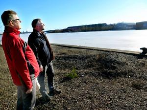 Hans Wahlström och Peter Hansson blickar ut över det de vill ska bli gästhamn. Peter, som varit lärare ser en möjlighet i att elever kan få ha biologilektioner utomhus. Det finns mycket kunskap att inhämta i fjärden.