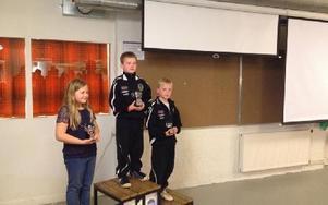 Prispallen i klass 11, tvåan Amanda Carlsson från Gullabo, segrande David Gustafsson från Ludvika och trean Filip Gustafsson från Ludvika. De sistnämnda är tvillingar. Foto: Privat